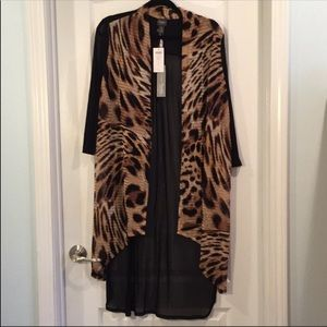Chico's Travel Leopard Mesh duster Jacket  Size 2